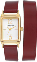 Nine West Women's Burgundy Imitation Leather Double Wrap Strap Watch 22x29mm NW-1954WTBY