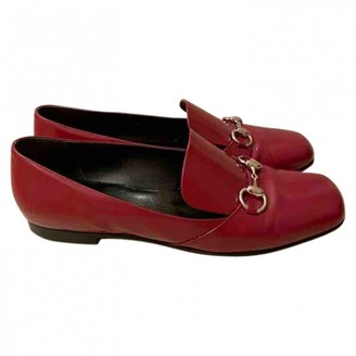 Gucci Brixton Red Leather Flats