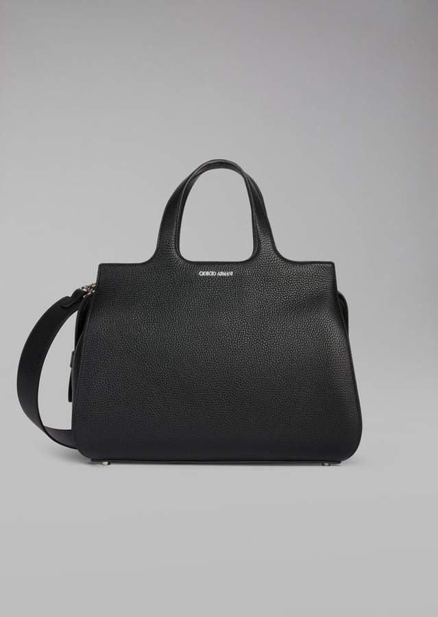 Giorgio Armani Grainy Leather Handbag With Removable Shoulder Strap