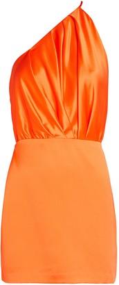 Mason by Michelle Mason Pleated One-Shoulder Silk Dress