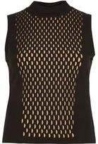 River Island Womens Black knitted eyelet front sleeveless top
