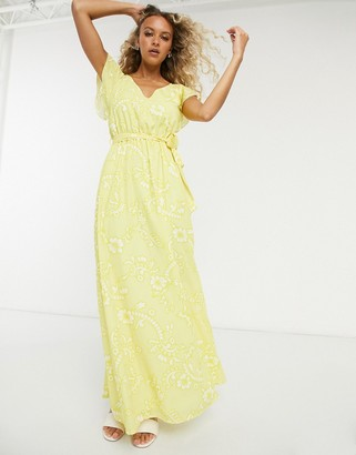 Twisted Wunder ruffle maxi dress in lemon floral