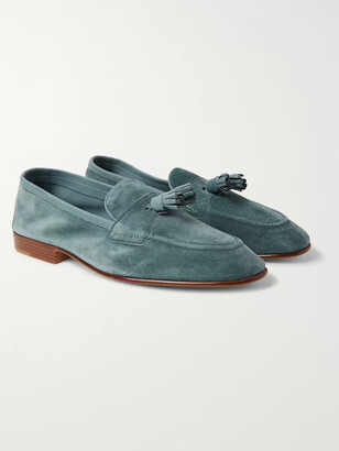 Edward Green Portland Leather-Trimmed Suede Tasselled Loafers - Men - Blue