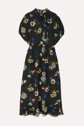 RED Valentino Pussy-bow Floral-print Ruffled Crepe Midi Dress - Black