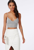 Missguided Jersey Wrap Over Bralet Grey