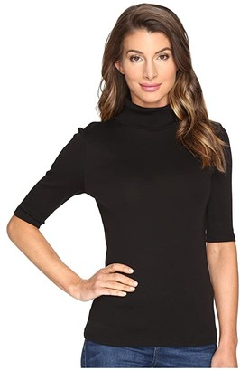 Lilla P Elbow Sleeve Turtleneck (Black) Women's Clothing