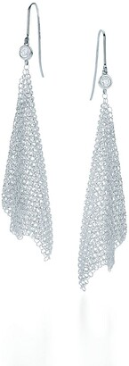 Tiffany & Co. Elsa Peretti Mesh scarf earrings in sterling silver with diamonds, small