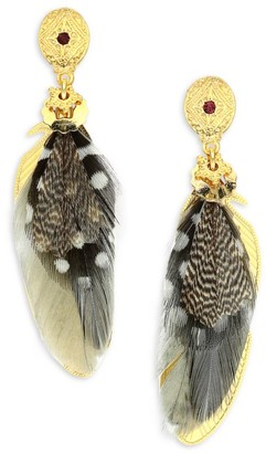 Gas Bijoux Small Sao 24K Gold-Plated & Dyed Feather Drop Earrings