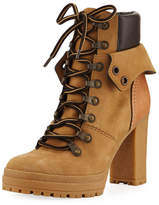See by Chloe Lace-up Mixed High Leather Boot, Beige