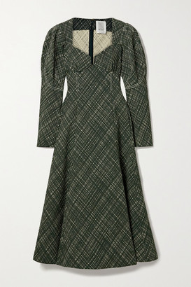 Rosie Assoulin Don't Call Me Sweetheart Checked Stretch Cotton-blend Midi Dress - Dark green