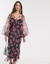 Asos Design DESIGN organza bias maxi dress with puff sleeves in rose floral print