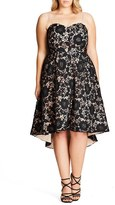 City Chic Plus Size Women's Sierra Lace Strapless Fit & Flare Dress