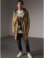 Burberry Cotton Blend Twill Parka , Size: 46, Brown
