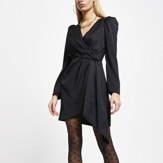 River Island Womens Black wrap waist long sleeve mini dress