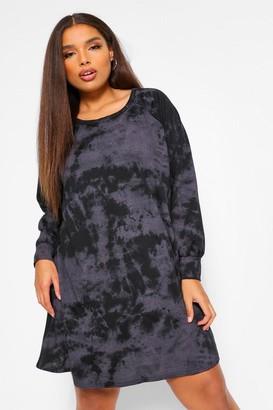 boohoo Plus Tie Dye Sweat Dress