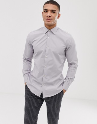 French Connection plain poplin slim fit shirt-Grey