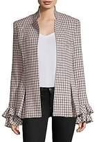 Maggie Marilyn Women's Wool-Blend Checked Ruffle Jacket
