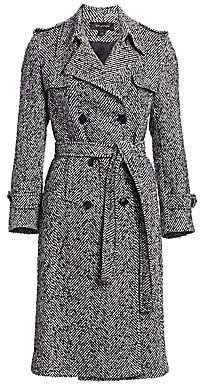St. John Women's Double-Breasted Herringbone Trench Coat
