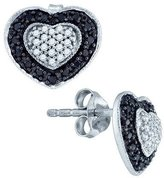 0.51ctw Black & White Diamond Halo Stud Earrings Heart Shape