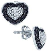 TheJewelryMaster 0.51ctw & White Diamond Halo Stud Earrings Heart Shape