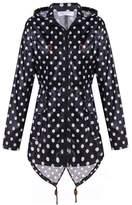 BELLE-LILI Womens Leopard Hooded Raincoat Leightweight Long Rain Jacket Coat (L, )
