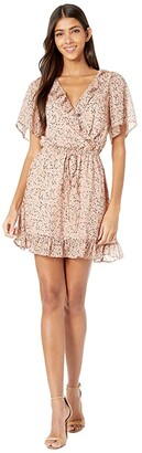 Lost + Wander Floral Fairy Mini Dress (Peach Multi) Women's Clothing