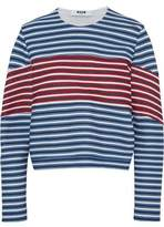 MSGM Striped Cotton-Blend Jersey Sweatshirt