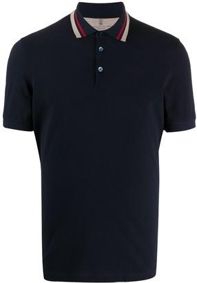 Brunello Cucinelli Striped-Trim Short-Sleeved Polo Shirt