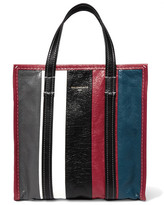 Balenciaga Bazar Small Striped Textured-leather Tote - Burgundy
