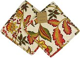 April Cornell Set of 2 Potholders 8 X 8 Paisley Floral Leaves 100% Cotton Red/Green/Mustard on Cream Beige Background