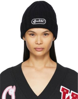 Off-White Black Wool Chunky Logo Beanie