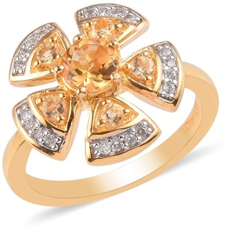 Shop Lc Vermeil Yellow Gold Over 925 Silver Citrine Cocktail Ring Ct 0.8
