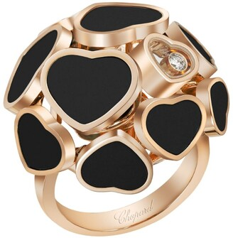 Chopard Rose Gold and Onyx Happy Hearts Ring