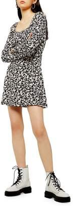 Topshop Floral-Print Blouson Mini Dress