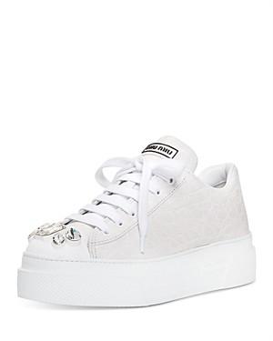 Miu Miu Women's Croc-Embossed Crystal Embellished Platform Sneakers