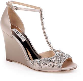 Badgley Mischka Sarah Crystal Embellished Satin Dressy Wedge Sandals