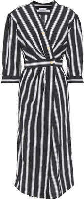 Sandro Carl Pleated Striped Woven Midi Wrap Dress