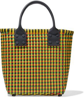 Truss Small Leather-trimmed Woven Raffia-effect Tote