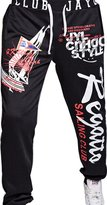 jeansian Men's Alphabet Printed Sport DrawString Baggy Long Pants Sweatpants S435 RoyalBlue L