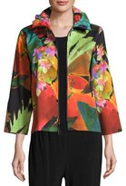 Caroline Rose Garden Party Stretch Zip-Front Jacket, Plus Size