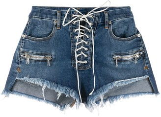 Unravel Project Vintage Chaos lace-up denim shorts