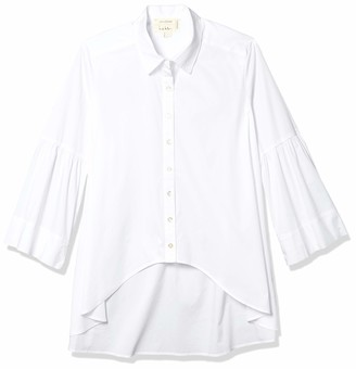 Nicole Miller Women's Cotton Poplin Hi-lo Button Down Shirt