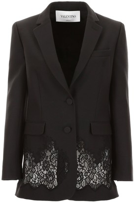 Valentino Lace Panel Single Breasted Blazer