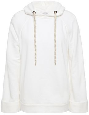 Brunello Cucinelli Bead-embellished Linen And Cotton-blend Fleece Hoodie