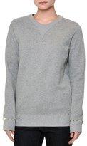 Valentino Long-Sleeve Rockstud-Trim Sweatshirt, Gray Melange