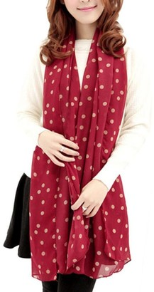Deloito Girl Long Soft Silk Chiffon Scarf Wrap Polka Dot Shawl Scarve New Stylish (Red)