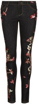Alice + Olivia 'Jane' bird and floral embroidered skinny jeans