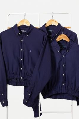 Urban Renewal Vintage Remade From Vintage Navy Ralph Lauren Bubble Hem Shirt - Blue M/L at Urban Outfitters