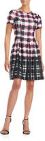Vince Camuto Short-Sleeve Plaid Fit-and-Flare Dress