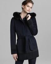 Ellen Tracy Coat - Belted with Fox Fur Trim